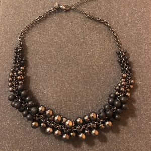 Lia Sophia Silver Chrome Black Bauble Necklace